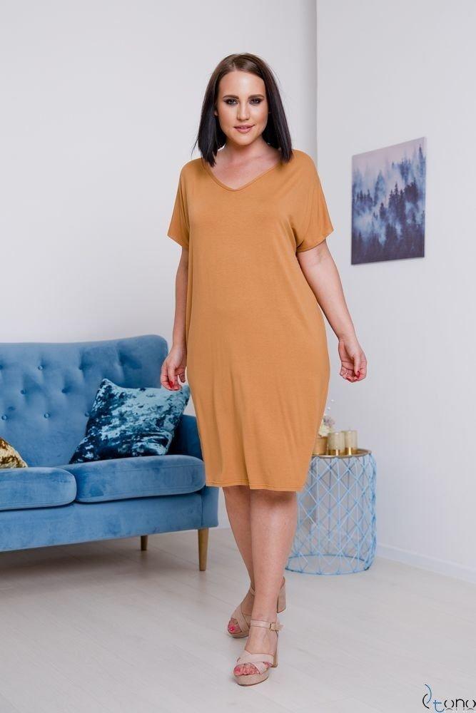 Camelowa Sukienka ARCERIA Plus Size