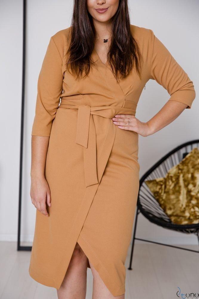 Camelowa Sukienka FERRERA Plus Size