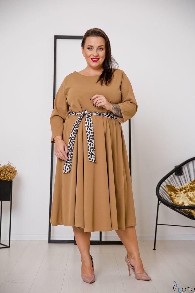 Camelowa Sukienka SENTINELLA Plus Size
