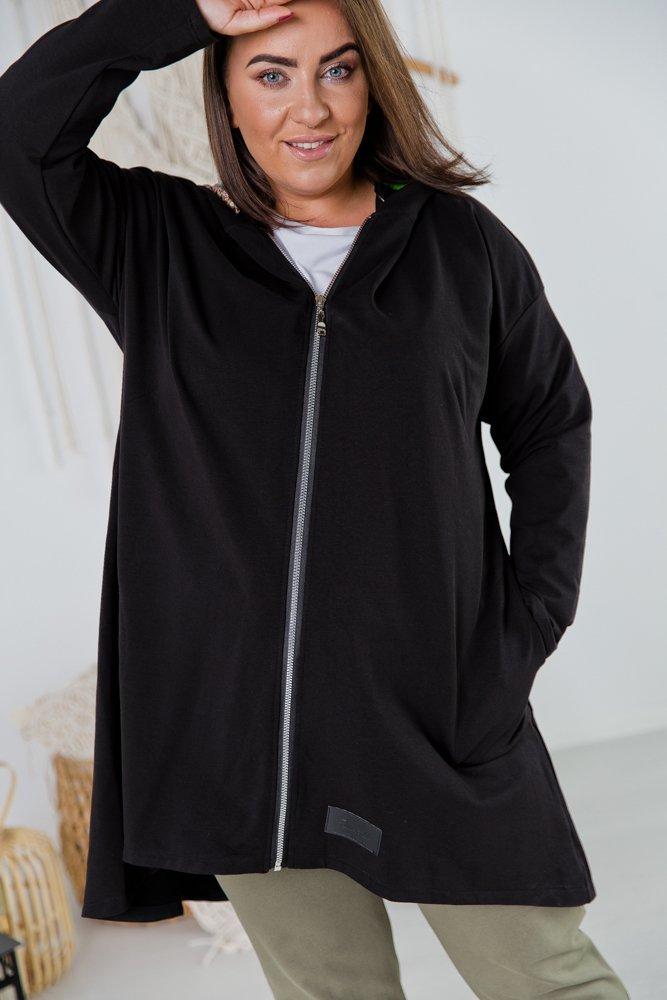 Czarna Bluza SPLIT Plus Size