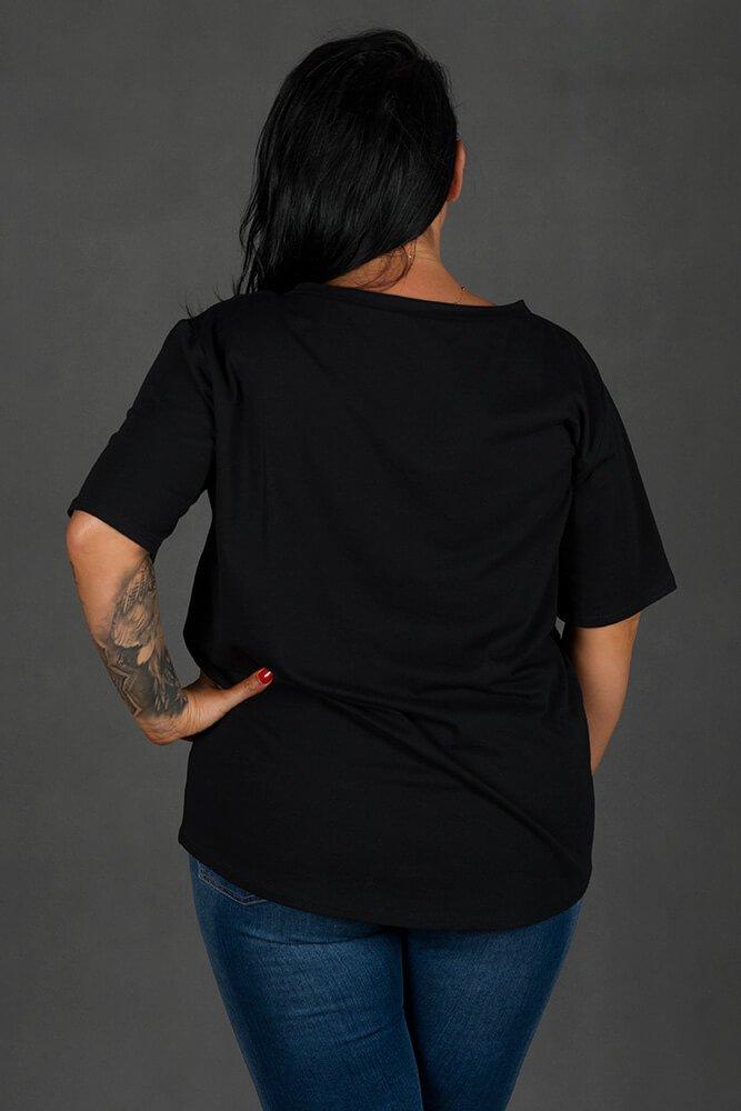 Czarna Bluzka FACE T-shirt Plus Size
