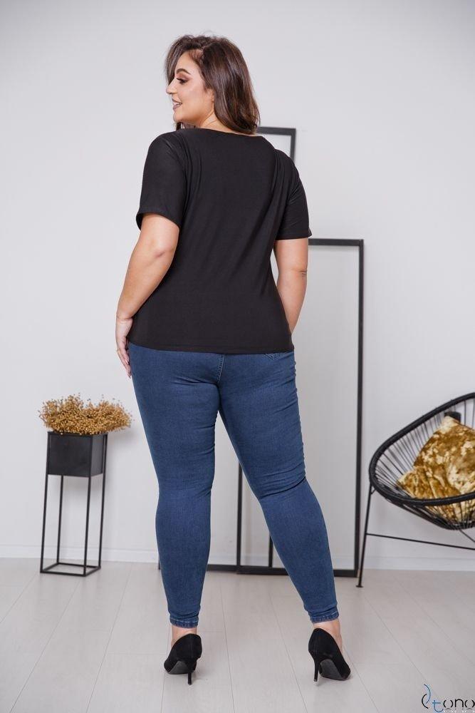 Czarna Bluzka NUMBER Plus Size