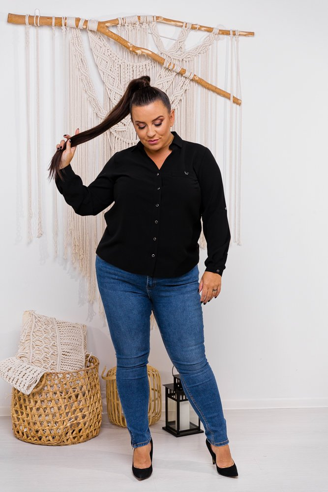 Czarna Bluzka RONPI Plus Size