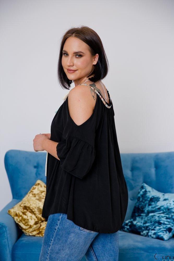 Czarna Bluzka SOLITA Plus Size