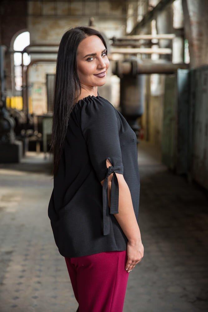 Czarna Bluzka damska LURESS Hiszpanka Plus Size