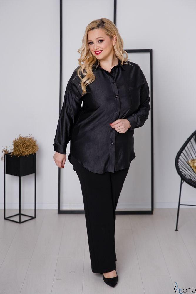 Czarna Koszula ULTIVA Plus Size