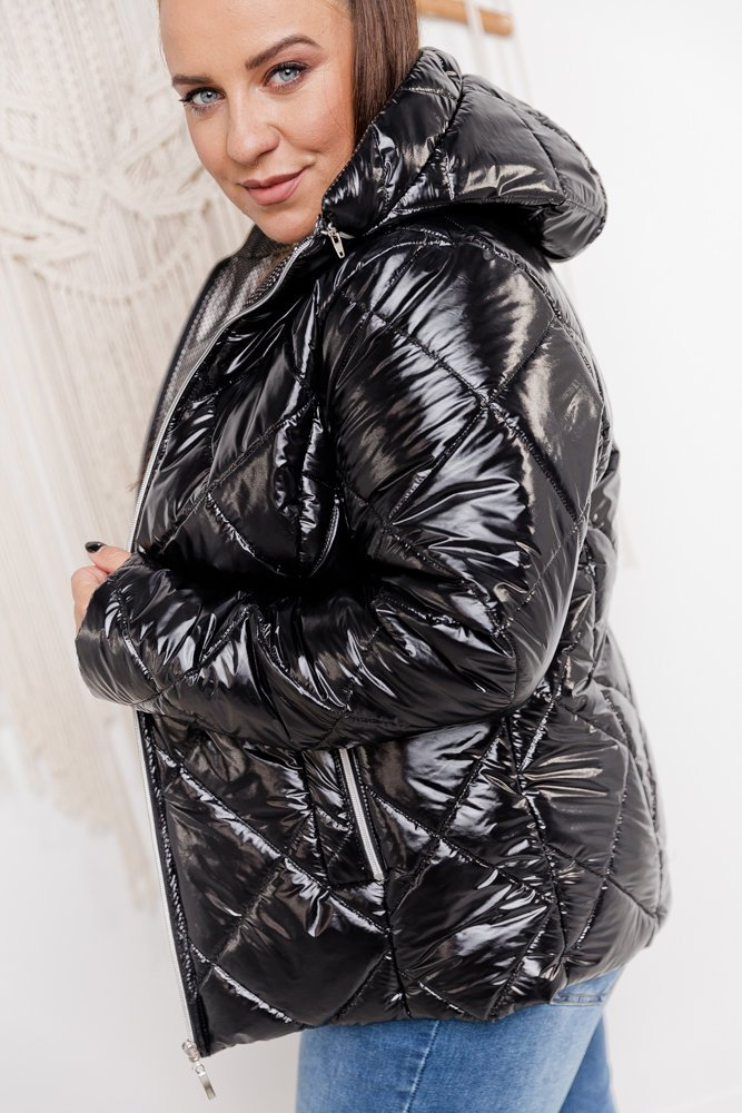Czarna Kurtka LUSTERIA Plus Size