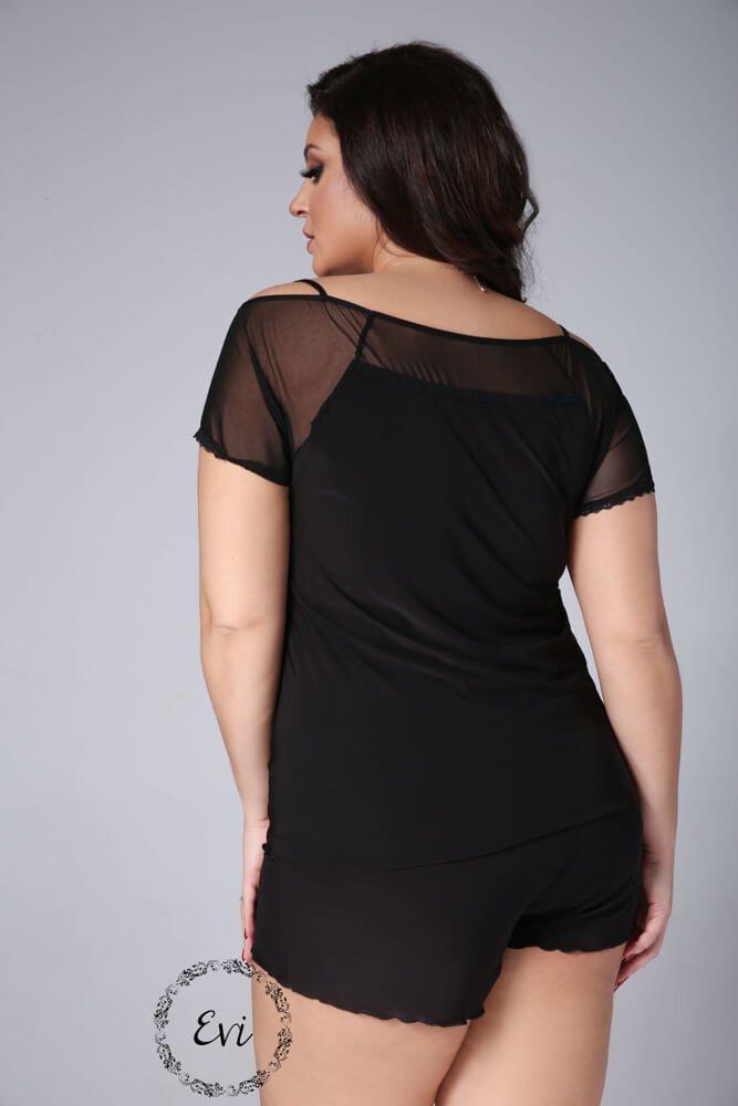 Czarna Piżamka ZITA Plus Size Hiszpanka