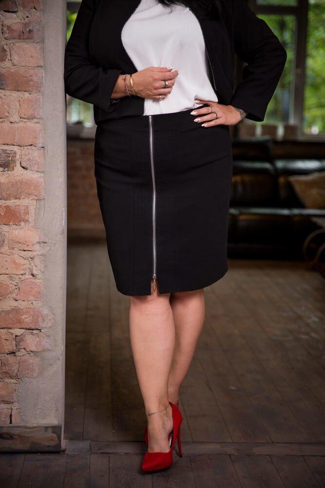 Czarna Spódnica DOLLY Plus Size Ołówkowa