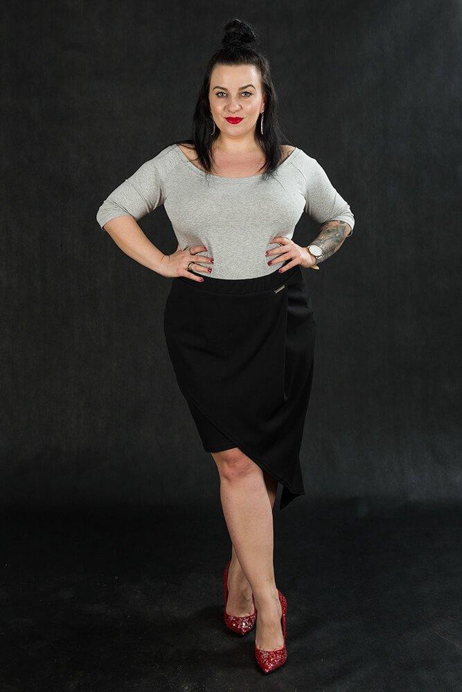 Czarna Spódnica damska Plus Size SENTIDA Asymetryczna