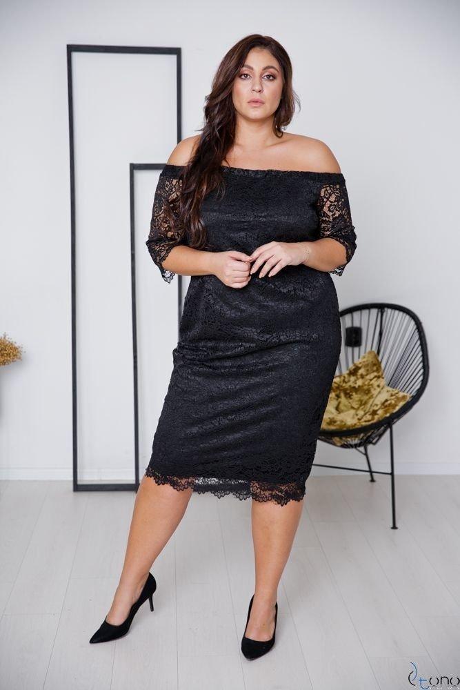 Czarna Sukienka ADELINA Plus Size