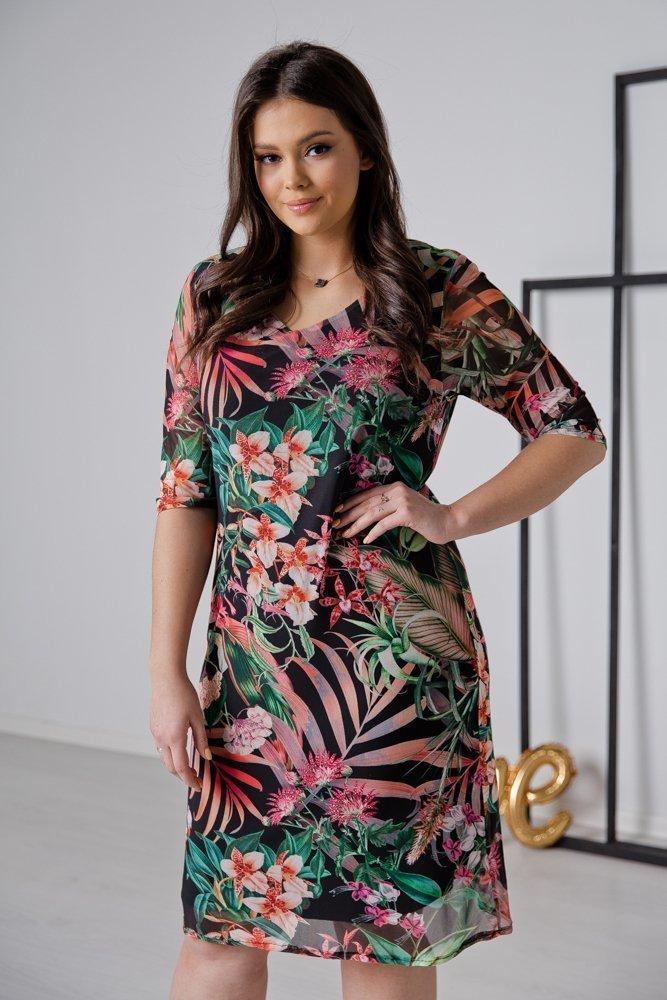 Czarna Sukienka DORMA Plus Size Wzór 1