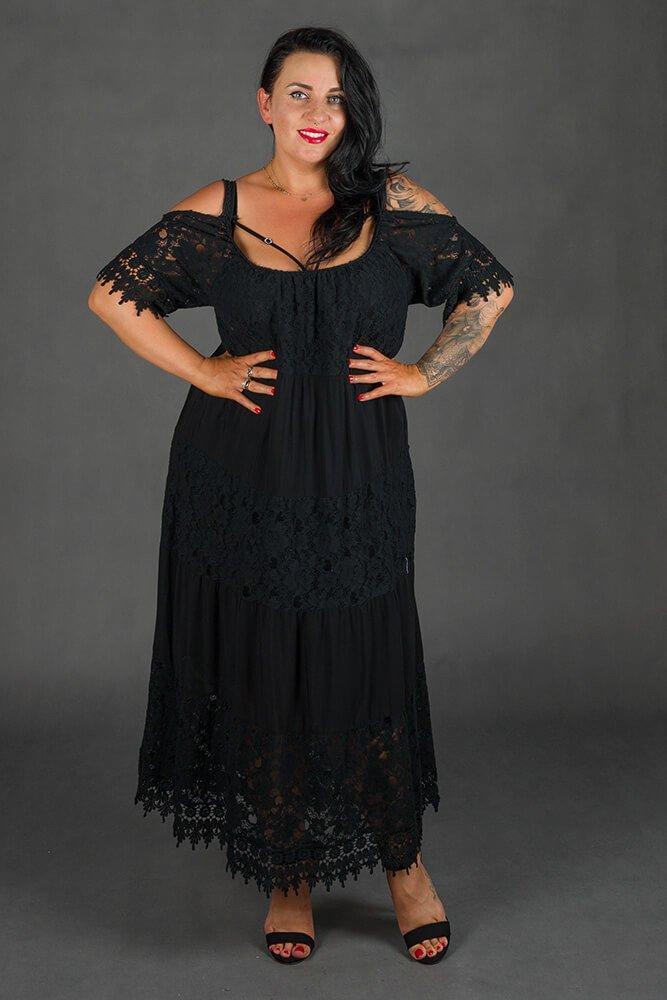 Czarna Sukienka NUVOLA Maxi Plus Size