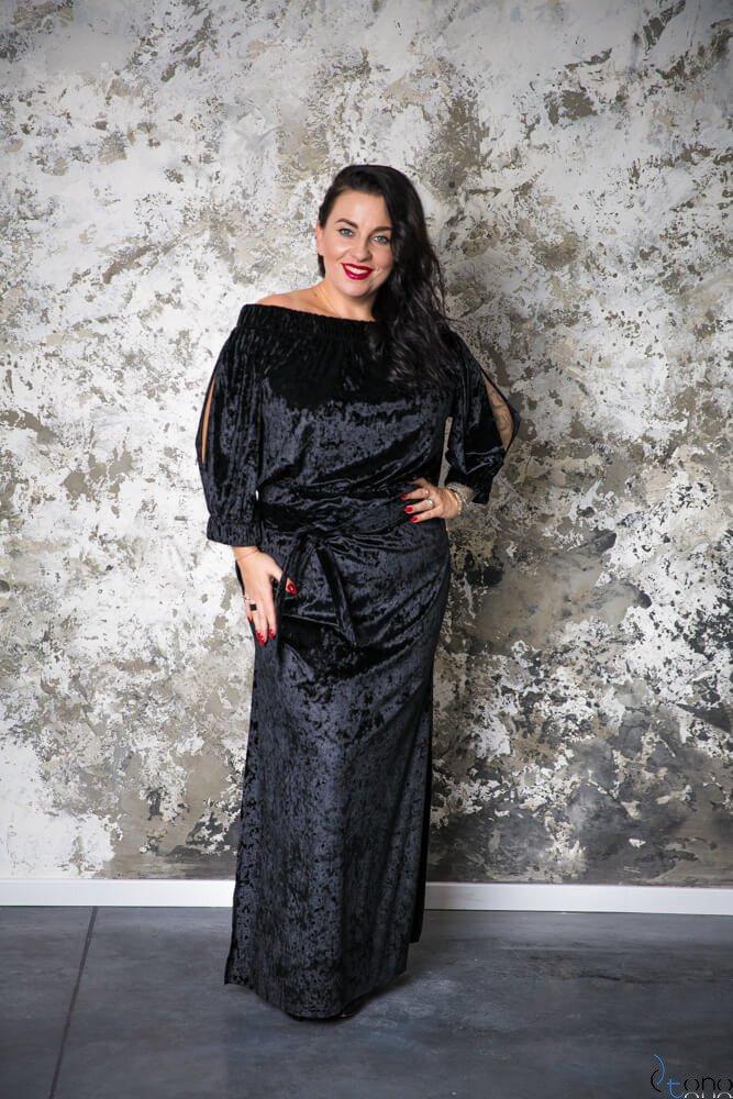 Czarna Sukienka PIENA Plus Size Maxi