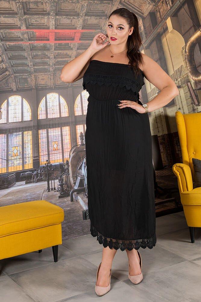 Czarna Sukienka REVIA Hiszpanka Plus Size