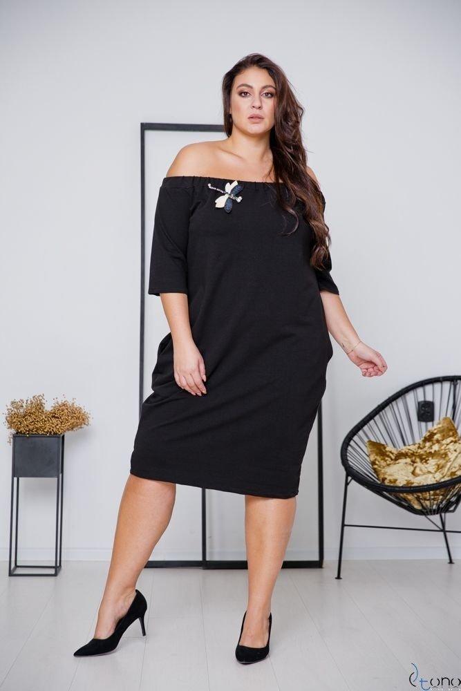 Czarna Sukienka ROSETTA Plus Size