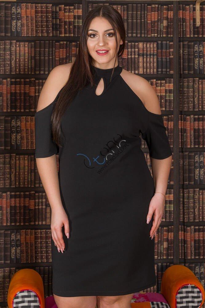 Czarna Sukienka SYNTIA Półgolf Zmysłowa