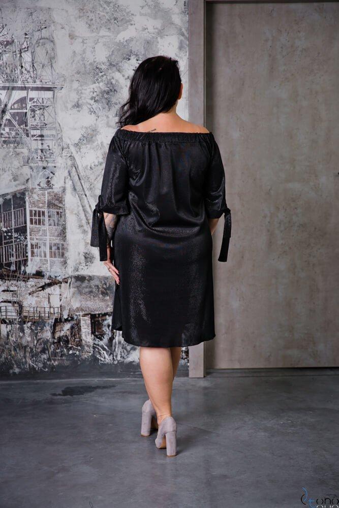 Czarna Sukienka VALENCIA Hiszpanka Plus Size