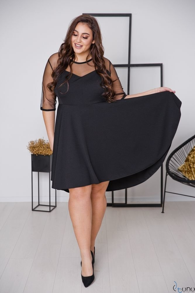 Czarna Sukienka VELOSIA Plus Size