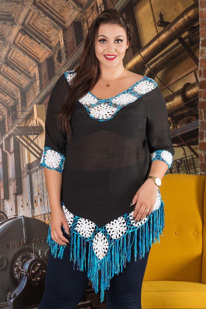 Czarna Tunika DIAMMA Letnia Plus Size