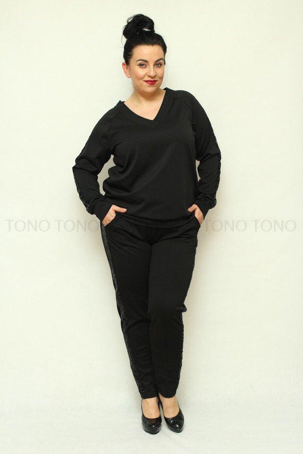 Czarna bluza dresowa damska NEVA2 z cekinowym lampasem duże rozmiary