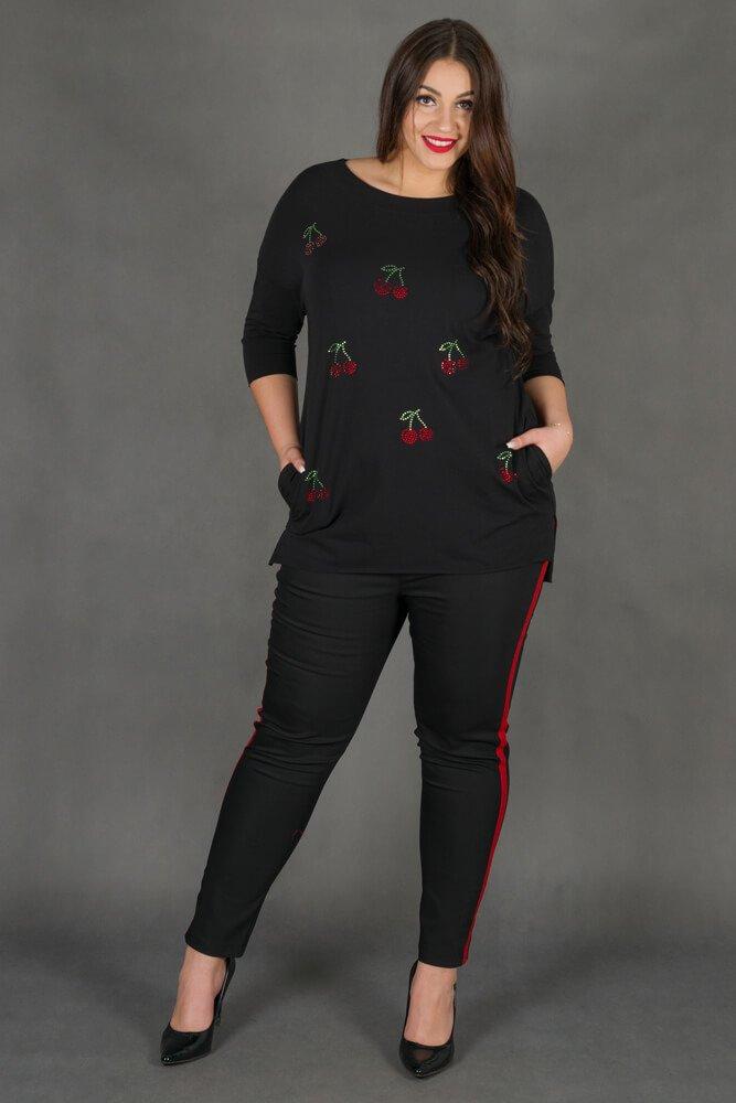 Czarne Spodnie RITMO Lampas Plus Size