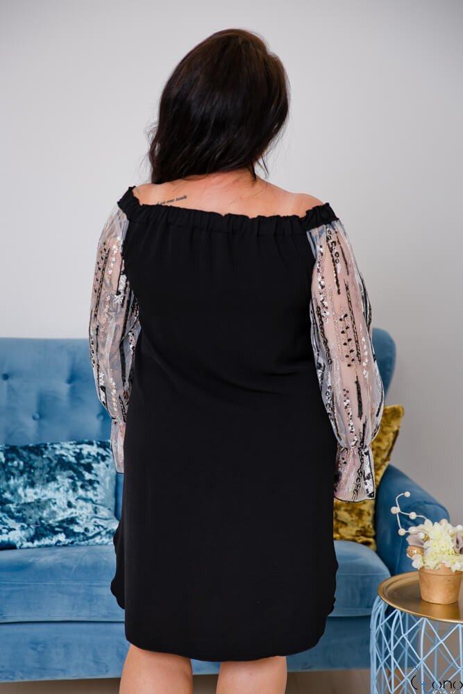 Czarno-Biała Sukienka MADAME Plus Size