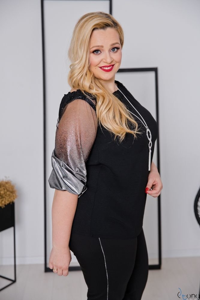 Czarno-Srebrna Bluzka LAURES Plus Size