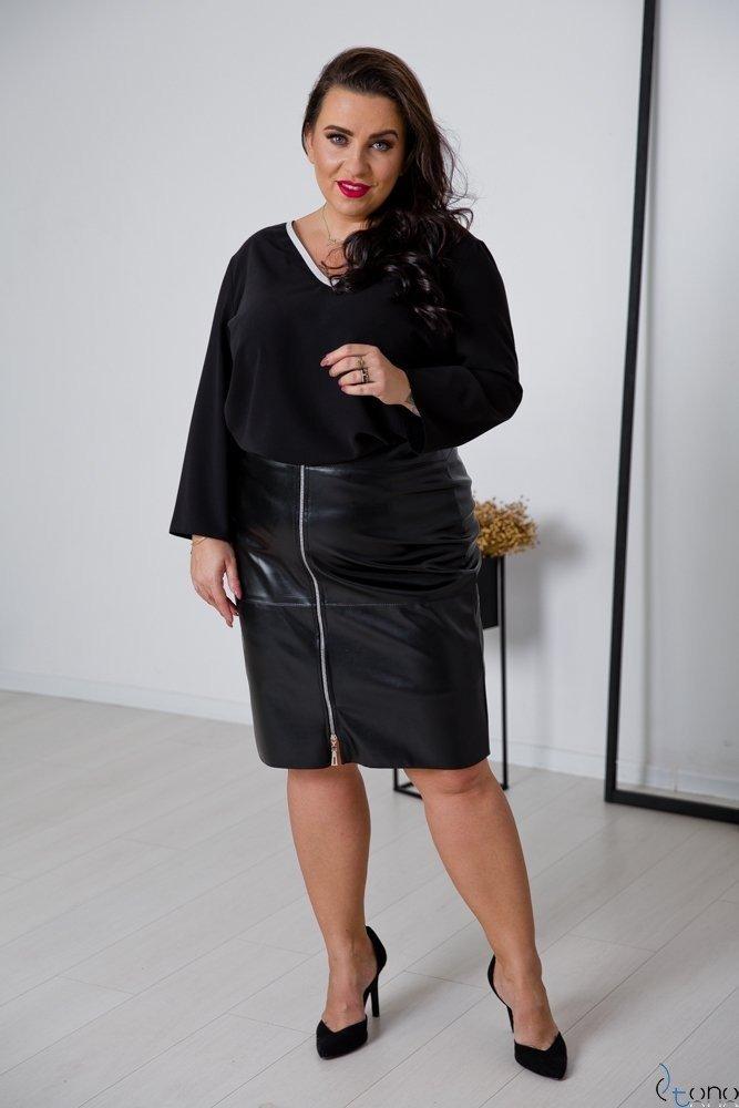 Czarno-Srebrna Bluzka LAVYA Plus Size