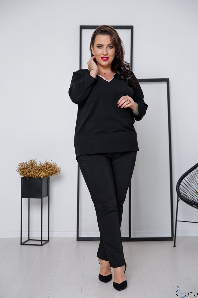 Czarno-Złota Bluzka LAVYA Plus Size