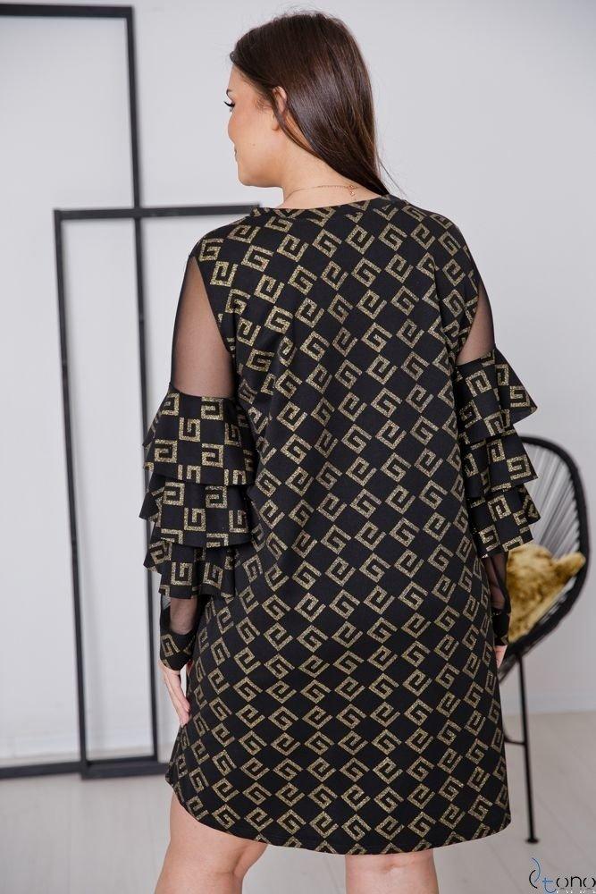 Czarno-Złota Sukienka CATIVA Plus Size