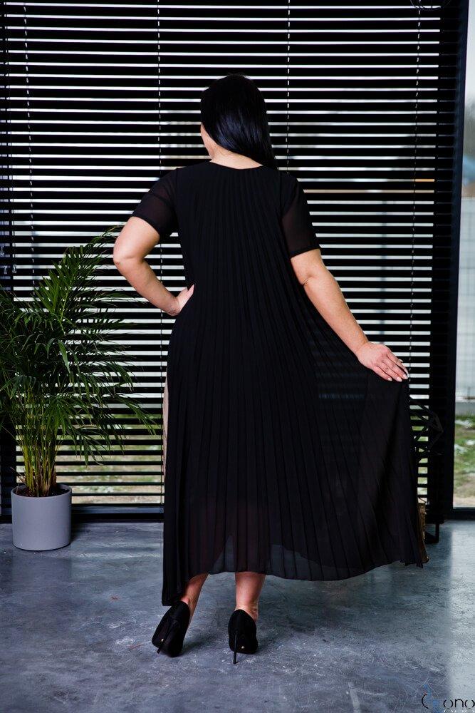 Czarno-Złota Sukienka CORSA Plus Size Plisowana