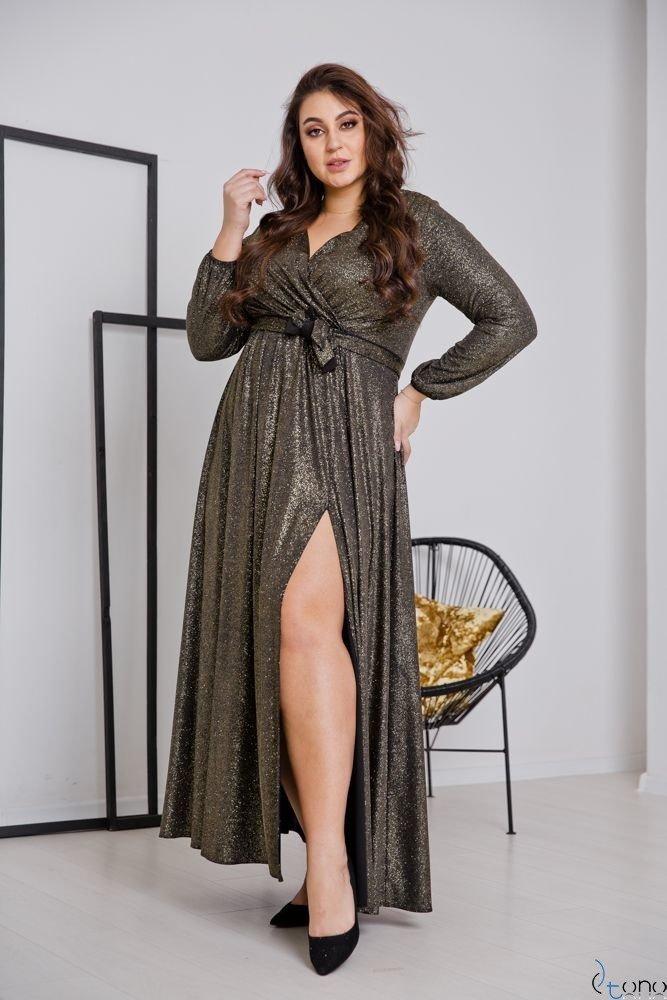 Czarno-Złota Sukienka SAVOY Plus Size