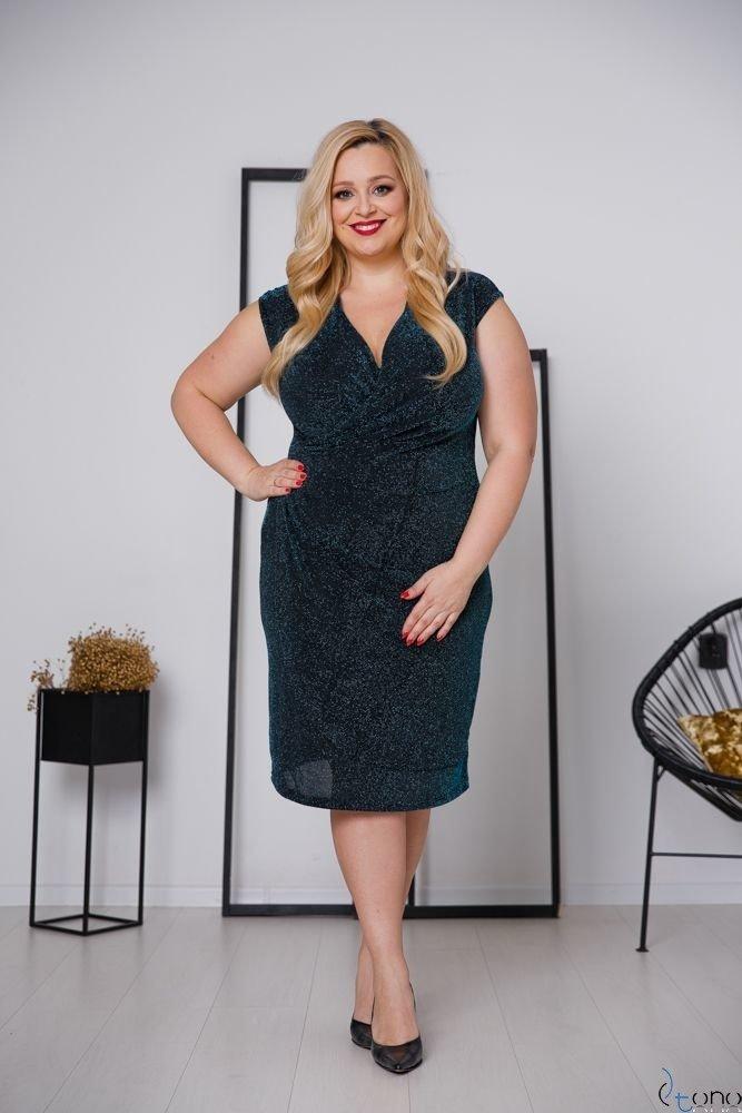 Czarno-turkusowa Sukienka VENGA Plus Size