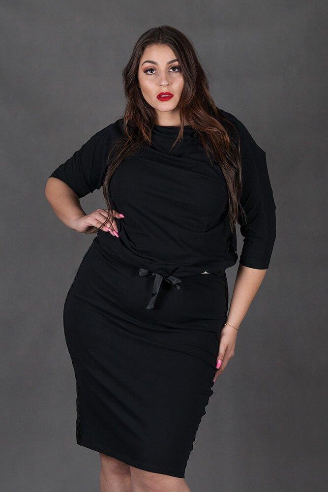 Czarny Komplet RIA Bluzka Spódnica Plus Size