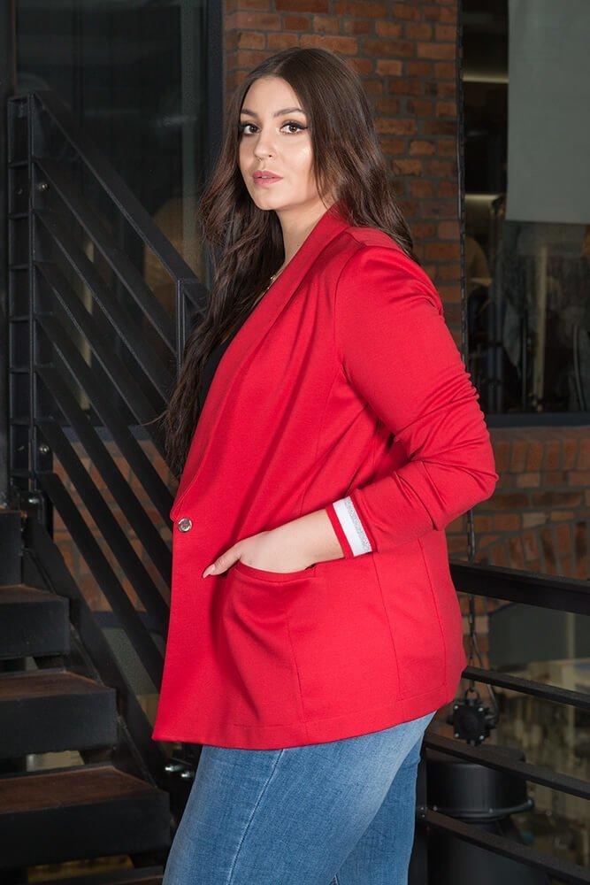 Czerwona Marynarka damska Casual Plus Size