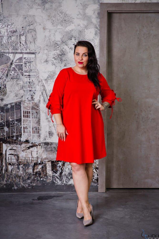 Czerwona Sukienka AVRIL Plus Size
