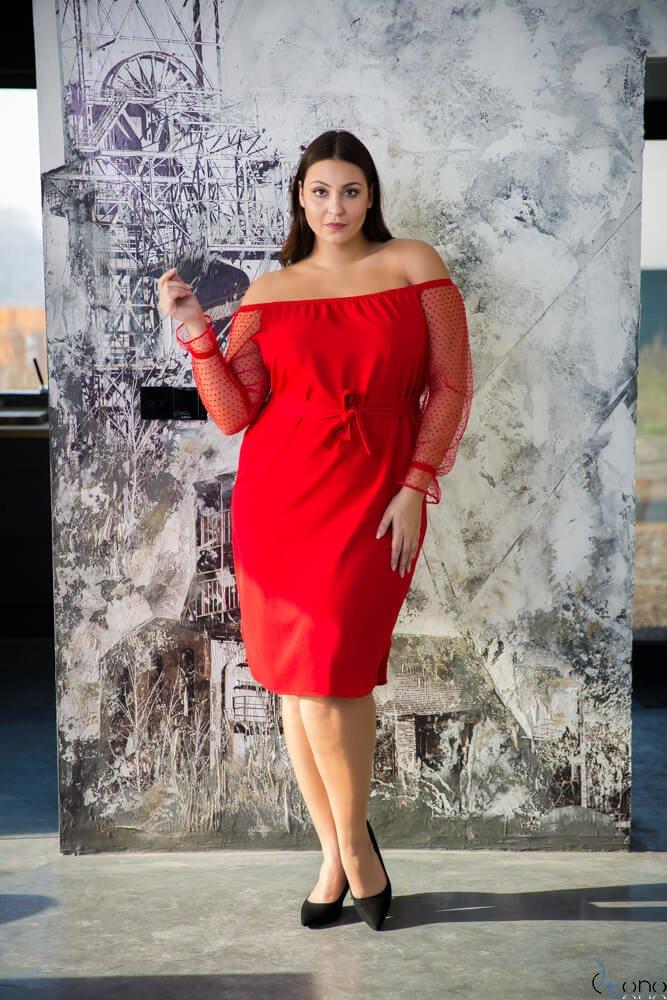 Czerwona Sukienka CATYS Plus Size