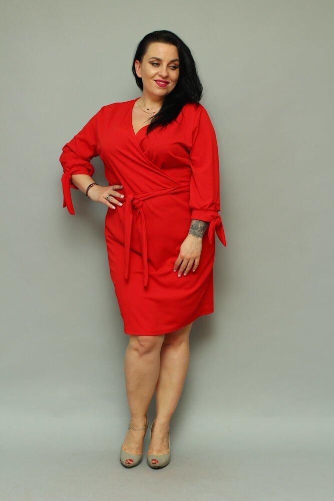 Czerwona Sukienka CIARRA Kopertowa Plus Size