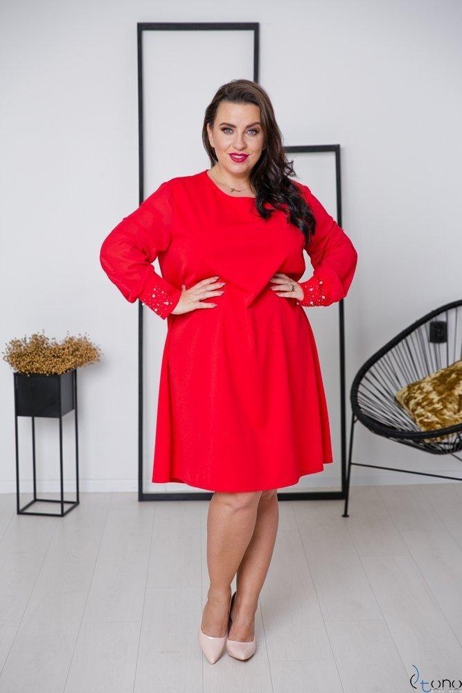Czerwona Sukienka DEVELEY Plus Size