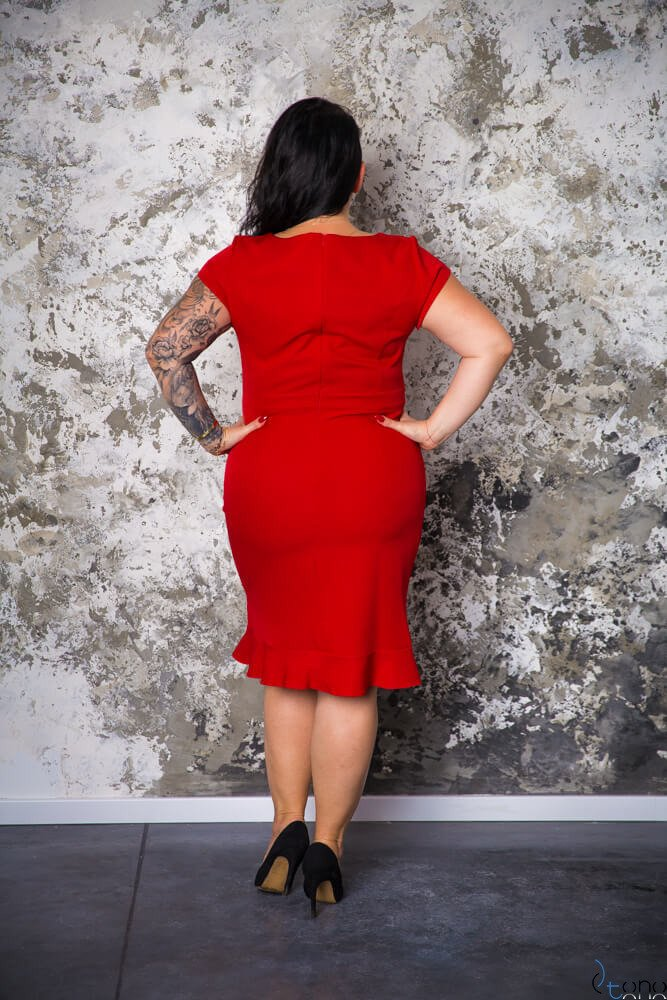 Czerwona Sukienka PAOLA Plus Size