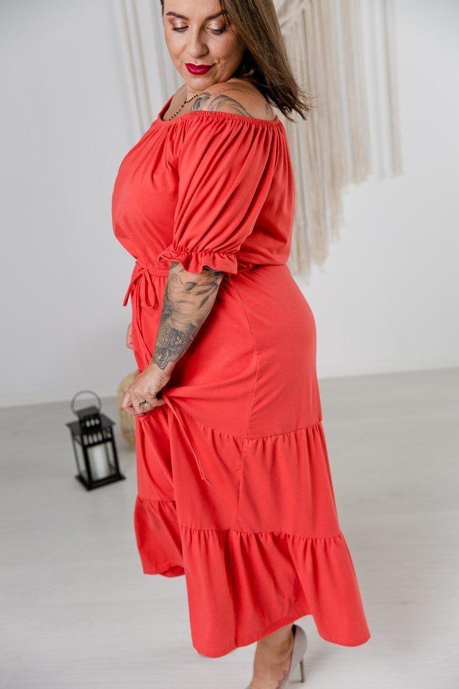 Czerwona Sukienka SOFT Plus Size