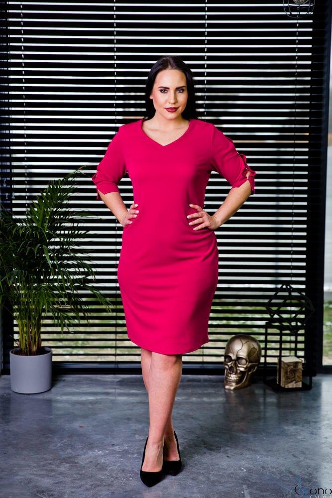 Czerwona Sukienka TRILI Ołówkowa Plus Size