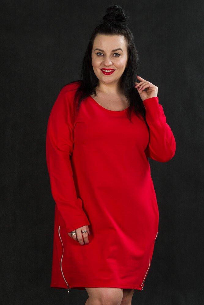 Czerwona Tunika EMMA Plus Size Zamki