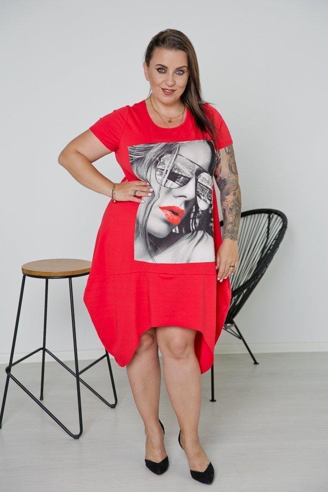 Czerwona Tunika GLENA Plus Size