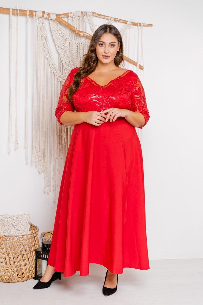 Czerwona sukienka SONTA Plus Size