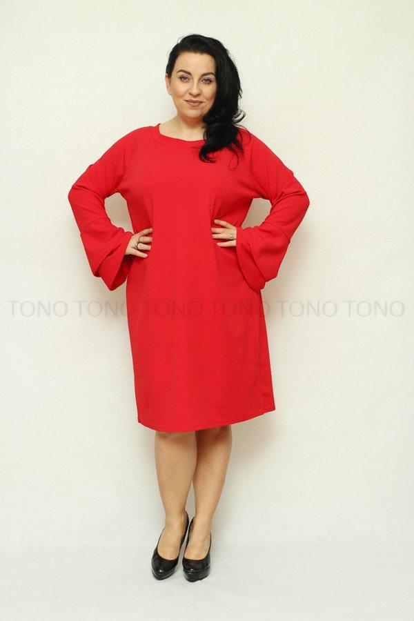 Czerwona sukienka damska CAMPA rozkloszowany rękaw duże rozmiary