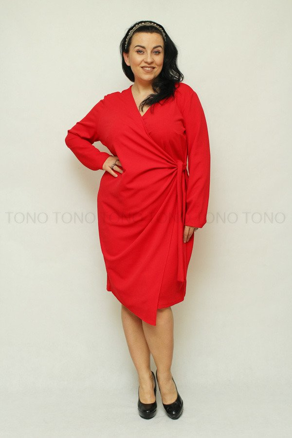 Czerwona sukienka damska RAMONA wiązana Plus Size
