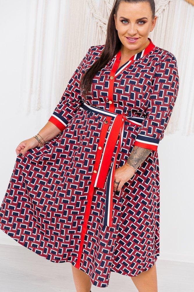 Czerwono-granatowo Sukienka VIVALDA Plus Size