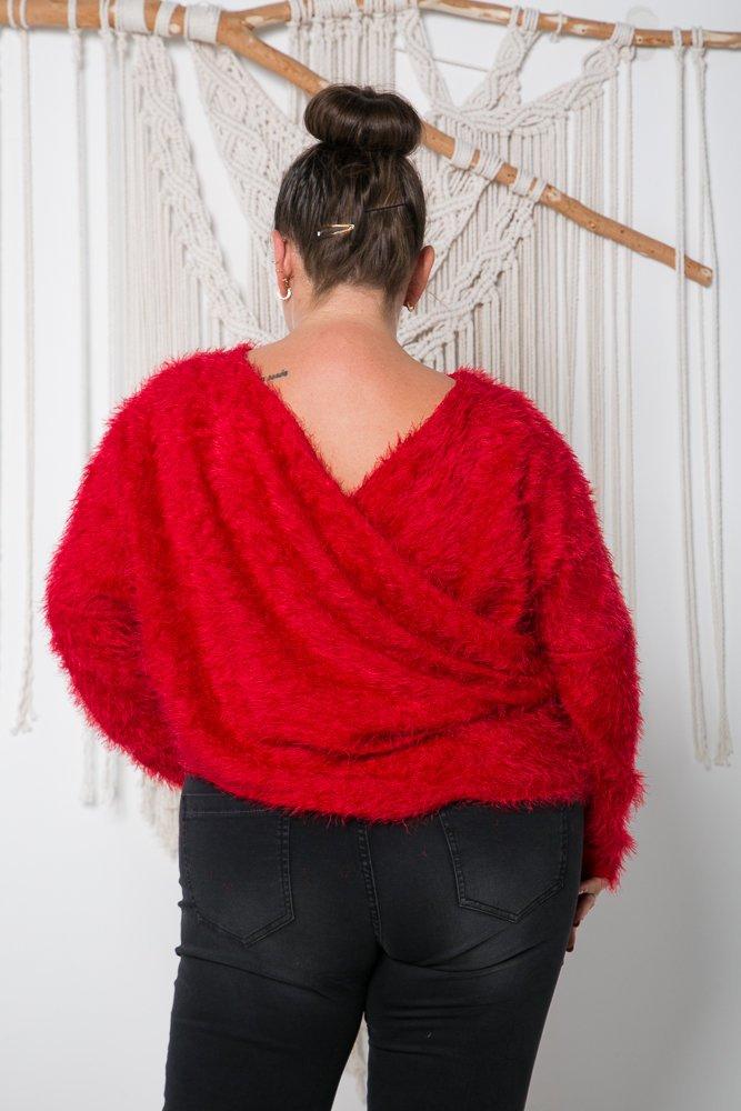 Czerwony Sweter FABIOLA Plus Size